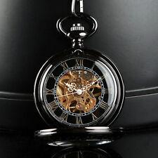Época de viento bolsillo analógico esqueleto mecánico reloj cadena Steampunk