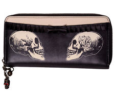Banned Apparel Skull Rose Gothic Faux Leather Zip around Wallet Purse Black
