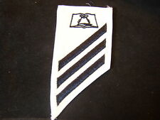 USN STRIKER RATE INSIGNIA-MESS MANAGEMENT SPECIALIST BLACK STRIPES ON WHITE  E-3