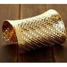Women's Gold Plated Wide Latticed Carved Statement Punk Cuff Bangle Bracelet