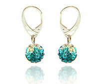 Shamballa Disco Balls Ocean Blue,Aquamarine & White Fusion Drop Earrings E429