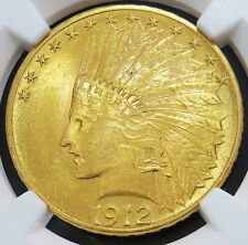 1912 GOLD US $10 INDIAN HEAD EAGLE COIN NGC MINT STATE 62