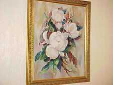 "27"" Vintage WHITE MAGNOLIA FLOWERS Still Life OIL PAINTING Framed SIGNED Luke"