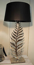 Edle Colmore Tischlampe Silber Blütenblatt Lampenschirm Schwarz Modern 57cm NEU