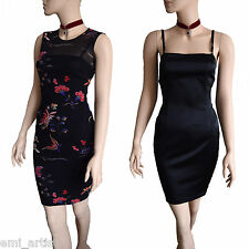 DOLCE & GABBANA D&G black double layer oriental print satin DRESS size 8 4 40