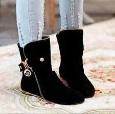 Casual Womens Flat Slip On Ankle Boots Buckle Tassel Slouch Roman Shoes Plus SZ