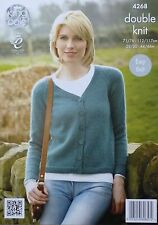 KNITTING PATTERN Ladies EASY KNIT Long Sleeve V-Neck Cardigan DK King Cole 4268