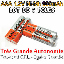 6 Piles AAA Rechargeables 900mAh 1.2V NIMH C.F.L. R3 R03 LR3 LR03 Batterie - PRO