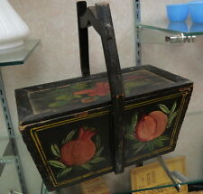 early gaudy dutch hand painted wood box / basket 5 sides of red / old rare shape