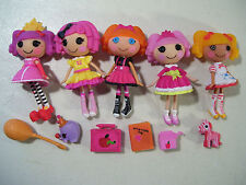 LOT OF 5 LALALOOPSY MINI DOLLS JEWEL SPARKLES CRUMBS SPOT BEA SPELLS PEANUT BIG