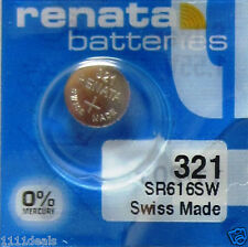 5 x 321 Renata (SR616SW) Coin Cell Silver Oxide 0% MERCURY Batteries