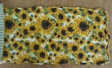 "DREAMY JEANINE Quilted Table Runner 42"" - Sunflowers - Gold, Brown, Green"