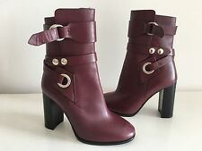 "ISABEL MARANT BURGUNDY ""ASHES"" ANKLE BOOTS, SIZE 37"