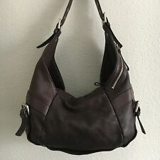 Kenneth Cole New York Brown Pebbled Leather Hobo Shoulder Handbag Purse