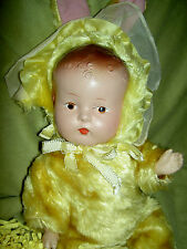 Adorable antique vintage, 1930 jointed compo. baby doll in original bunny outfit