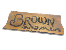 Vintage Old Wood Wooden Hand Carved Brown Family House Mailbox Outdoor Name Sign