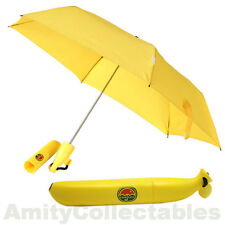 BANANA UMBRELLA In Plastic Case, Umbanana, Yellow, Fruit, Folding, Novelty, Gift