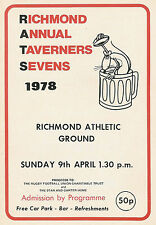 RICHMOND TAVERNERS RUGBY SEVENS PROG 9 Apr 1978 Inn on the River, Cardiff
