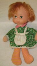"1970's  Mattel Baby Beans  10"" Bean Bag Girl Doll~Green Dress with Apron"