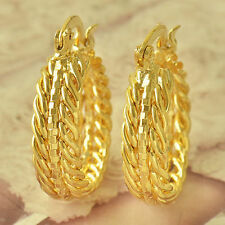 New Beautiful Intricately Woven 9K Yellow Gold Filled Round Hoop Earrings