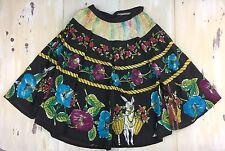 MEXICAN SKIRT - Vtg 40s-50s Full Circle Black Hand-Painted Donkey, Medium-Large