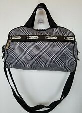 LeSportsac Purse Crossbody with Removable Strap Black White Houndstooth