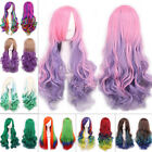 Women Long Wavy Curly Multi-color Cosplay Anime Wigs Heat Resistant Ladies Wigs