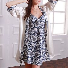 New Women Faux Silk Nightdress Nightwear Pajamas Set Sleepwear Bath Robe Gown