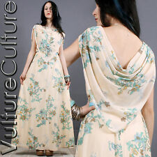 Vintage 70s Hippie Wedding Dress Cream/Teal Floral Sheer Drape Boho Maxi M/L