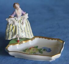 Vintage Half Doll Related German DRESDEN Flower Lady Trinket Vanity Tray Germany
