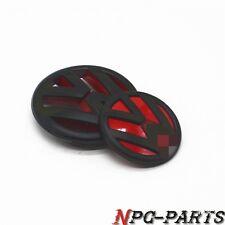 Front & Rear Matte Black & Red Grille Trunk Lid Emblem For VW Jetta MK6 VI 11-14