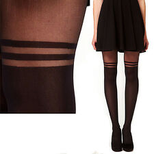 Methodical Well Stocking Pantyhose MOCK OVER THE KNEE DOUBLE STRIPE SHEER TIGHTS