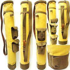 Tan Cowhide Leather Canvas Golf Club Ball Bag Two Pockets H-34inch D-5.5inch Yel