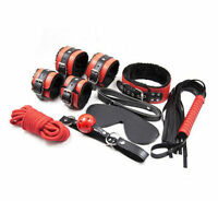 High Quality Black & Red Fur Bondage Set Kit-collar ballgag blindfold fetish