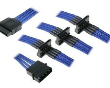 Molex to 4 x SATA Power Sleeved Cable Computer Blue Hard Drive Splitter Adapter