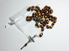 St Thomas More RELIC brown rosary PATRON large families, lawyers, politicians