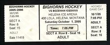 2005 Helena Bighorns Hockey Ticket vs Bozeman Icedogs