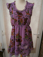 LADIES LILAC 'BIRD' PRINT CHIFFON TOP SIZE 20 NEW (ref 168)