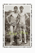 VINTAGE 1920's PHOTO AFFECTIONATE NEAR NUDE FARM MEN STRIP GAY INTEREST 70