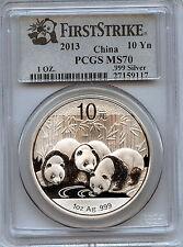 2013 Silver Panda 10 Yn ( PCGS MS70 1st STRIKE)