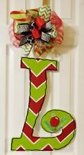 Handpainted  Large Wood Letter  Door Hanger Christmas Chevron  ~ANY INITIAL~