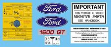 FORD RS 1600 & Mexico Under Bonnet Decal Set AVO Negative Earth Mk1 & Mk2 Escort