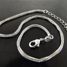 Fsa754 Genuine Real 925 Sterling Silver S/F Ladies Snake Link Xl Bracelet Anklet