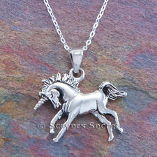 "MYTHICAL UNICORN Horse charm Pendant 925 Sterling Silver prancing 18"" necklace"