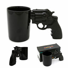 Coffee Mug Cup Gun Handle Revolver Pistol Water Black Gift Shooter Grip Ceramic