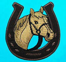 BROWN HORSE IN HORSESHOE Western Biker Embroidered Iron Sew On Patch FREE SHIP