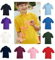 Fruit of the Loom Childrens Kids Childs School Polo Shirt with Collar - No Logo