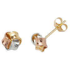 9ct Yellow, Rose & White Gold Lightweight Small Knot Style Studs ES361