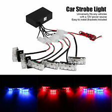 6X 3LED Red/Blue Car Police Strobe Flashing Light Dash Emergency Lamp 3 Modes