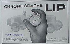 PUBLICITE MONTRE LIP CHRONOGRAPHE TACHYLIP COURSE AUTOMOBILE DE 1931 FRENCH AD